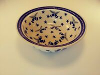 """Wiza Pottery Poland Bells Stars Cereal Soup Bowl. 7"""" by 2.5"""" tall"""