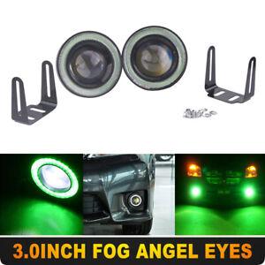 "2x 3"" inch LED Fog Light Round Green COB Angel Eyes Halo DRL Driving Car Truck"