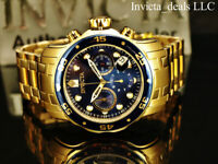 Invicta Men's 48mm Pro Diver SCUBA Chronograph Blue Dial 18K Gold Plated SS Watc