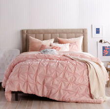 """PERI HOME Check Smocked DUVET COVER 90"""" x 92"""" Full/Queen Blush Pink NEW"""