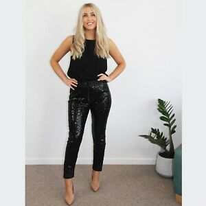 'CHICAGO' BLACK SEQUIN PANTS WITH DRAWSTRING
