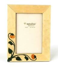 Natalini Marquetry Photo Frame Siena White Wood w. Mother-of-Pearl Flowers 4x6