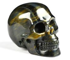 """2.0"""" BLUE & GOLD TIGER'S EYE  Carved Crystal Skull, Realistic, Crystal Healing"""