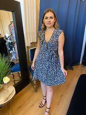 Azul Marino Estampado Floral Vestido Envolvente Verano Día Vestido Fiesta Vestido Fiesta de jardín