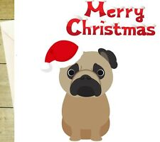 Pug pet dog merry Christmas card greetings glitter can be personalised