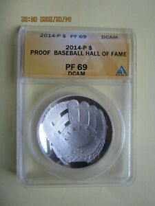 2014-P Hall of Fame Baseball Silver Dollar PROOF ANACS PF 69 DCAM