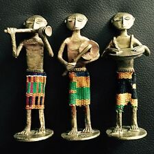 "Set of Three Wonderful Antique Handmade African Brass & Cloth 5""/13cm Figurines"