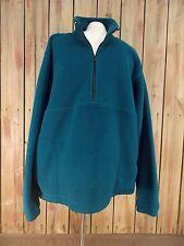 LL Bean Fleece Pull Over 1/2 Zip Blue Green Jacket Men's Size L