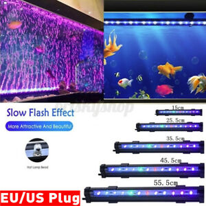 Aquarium Fish Tank LED Light RGB Colorful Strip Light Bar Lamp Lights+US/EU Plug
