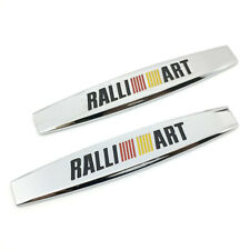 2x Silver Ralliart Fender Door Emblem Badge Sticker Logo For Mitsubishi Pajero Fits 1998 Mitsubishi