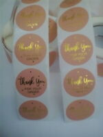 Round Sticky Labels Thank You For Your Order Gift Craft Box Pink Gold Writing