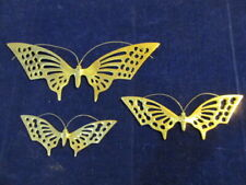 Vintage Mid Century Modern 3pc Set Solid Brass Butterfly Wall Art decor      A71