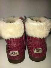$120 UGG Australia GEMMA Girls Fur Genuin Leather Boots Red Burgundy Zip size 9