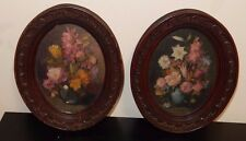 PAIR OF VINTAGE ART & CRAFT GALLERY ORIGINAL FLORAL OIL PAINTINGS PHILIPPINES