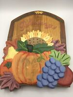 Hand Carved and painted Wooden Wood Wall Art Hanging blessings Plaque 12x9.5