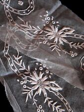 French Dense Dimentsional Whitework Embroidery On Silk Tulle # 2 ~Normandy Lace