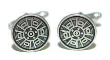 AZTEC SOUTHWESTERN INSPIRED SILVER TONE CUFF LINKS (073a)
