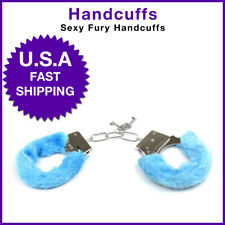 Adult Handcuffs  Furry Fuzzy Sexy Slave Hand Ring Ankle Cuffs Tied-up Toys BLUE