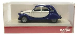 1:87 Scale Herpa 020817 Citroen 2CV Charleston - Blue & White - BNIB