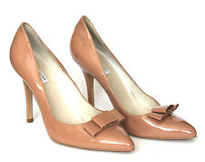 John Lewis Collection UK 8 Beige High Heel Patent Leather Court Shoes With Bow