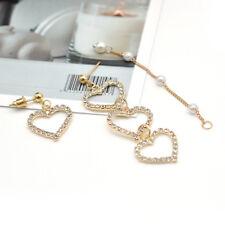 Elegant Korean Heart Earrings Crystal Pearl Dangle Long Tassel Ear Stud Jewelry