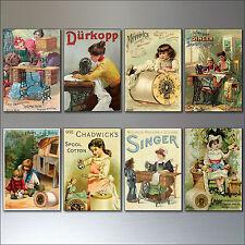 Vintage Vittoriano cucire pubblicità Calamite Da Frigo - Rétro, Set di 8