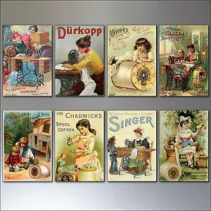 Fridge Magnets Vintage Victorian sewing Advertisements  - Retro, Set of 8