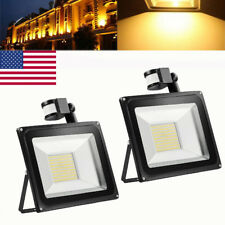 2X 100W LED Flood Light PIR Motion Sensor Warm White Outdoor Garden Spot Lamp