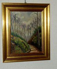 LANS P    le CHEMIN de l'ECOLE    peinture  H s/panneau  ENCADRE 24x30cm