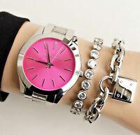 Original Michael Kors Uhr Damenuhr MK3291  Slim Runway Farbe:Silber/Pink NEU