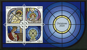 New Zealand NZ Christmas Stamps 2020 MNH Nativity Angels Stained Glass 4v M/S