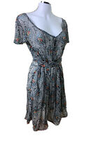 Ann Mardell NZ S-16 Sheer Black & Floral Scoop Neck Sash Tied Knee Lgth Dress