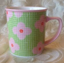 Starbucks Barista 2004 Mosaic Tile Bright Pink & Green Flower 16oz Mug ~ Rare!