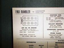 1961 Rambler Series 6180 Ambassador Models 250 V8 SUN Tune Up Chart Great Shape!