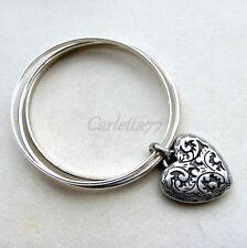 Bracciali charms placcati argento antico con cuore Heart bangle