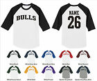 Bulls Custom Personalized Name & Number Raglan Baseball Jersey T-shirt