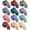 Mens Skinny Tie Woven Thin Stripe Formal Necktie FREE Pocket Square by DQT