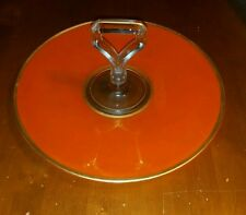 "Art Deco Orange Glass Cake Candy or Hors d'oeuvre Dish 11 1/8"", Atomic!"
