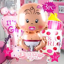 3PC Baby Girl Baby Shower Newborn 1st first Birthday Party Balloons Balloon