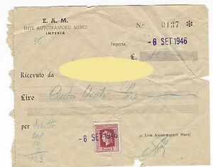 MARCA DA BOLLO 5 LIRE 1946 INDUSTRIA E COMMERCIO E.A.M. IMPERIA 16-126