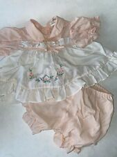 Vintage Pink White Apron Front Striped Stripes BABY GIRL Dress Bloomers Set 12 M