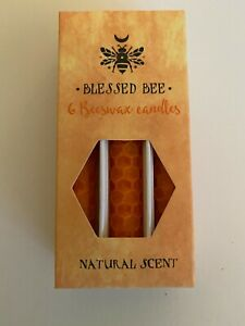 Blessed Bee 6 Beeswax Pillar Candles - Orange