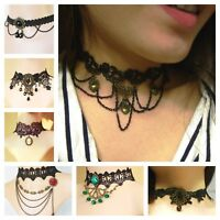 Necklace Choker Lace Jewelry Black Unique Present Holiday Halloween