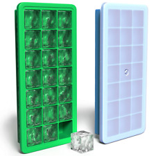 Vremi Silicone Ice Cube Trays with Plastic Lids - BPA Free Tray Set of 2 42 Smal