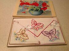 Vintage Ladies Boxed Applique Butterflies Butterfly Handkerchief Hankies Hanky