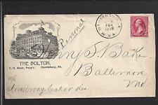 "WARDENSVILLE, WEST VIRGINIA COVER,1898, ILLUST HOTEL ADVT.  ""THE BOLTON"""