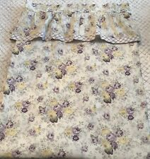 Rachel  Ashwell TREASURES LAVENDER & YELLOW Roses Ruffled Shower Curtain