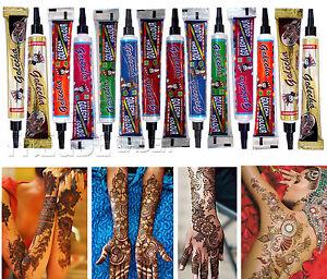 14x Golecha Henna Tuben für Mehndi Tattoo - 7 Farben Mix - kein PPD, 350g