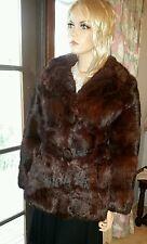 Genuine Real Vintage Brown Rex Rabbit Fur Lapin Coney Coat Jacket Hip Length S12