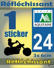 1 Sticker REFLECHISSANT département 24 rétro-réfléchissant immatriculation MOTO
